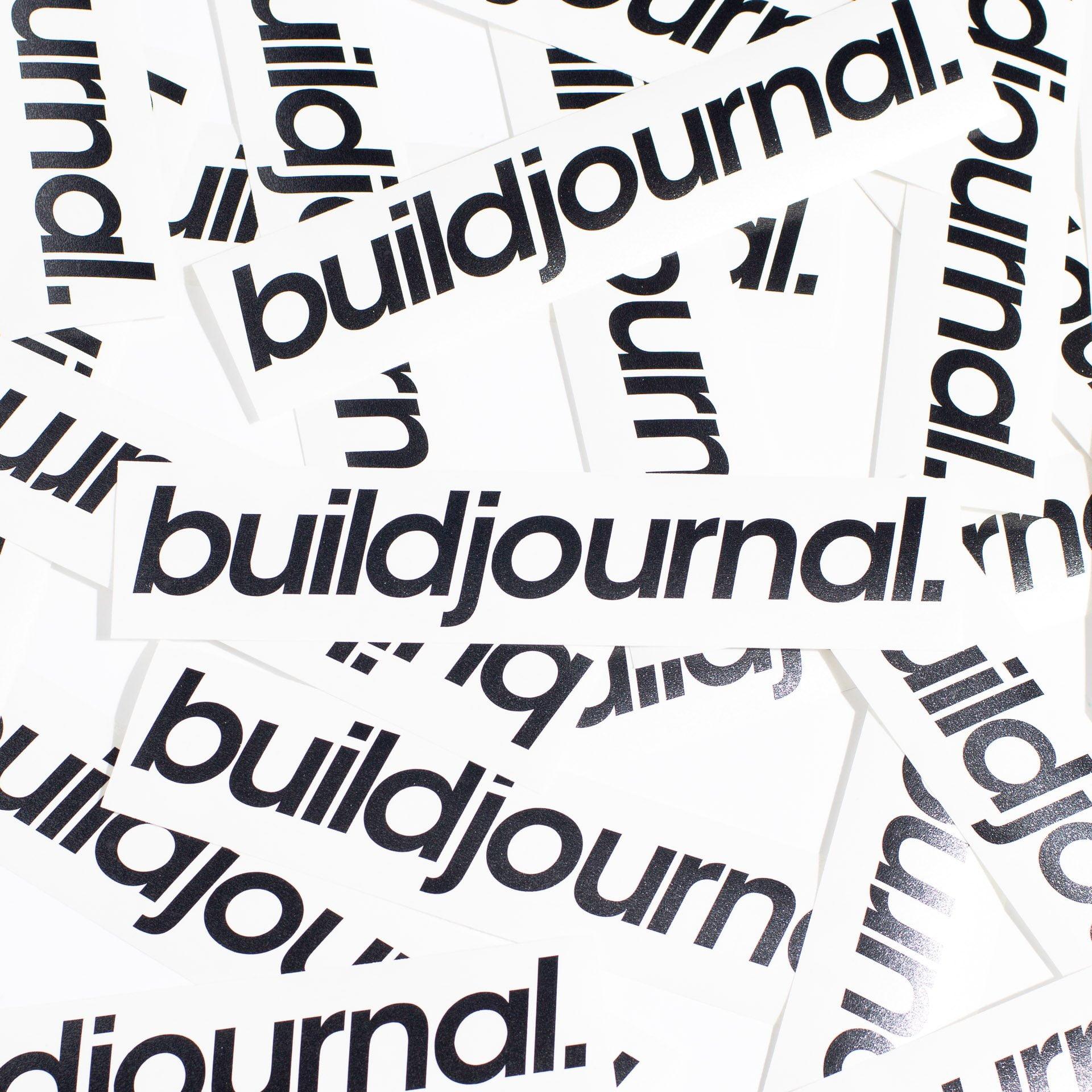 "Buildjournal 8.5"" Die Cut Sticker Black"