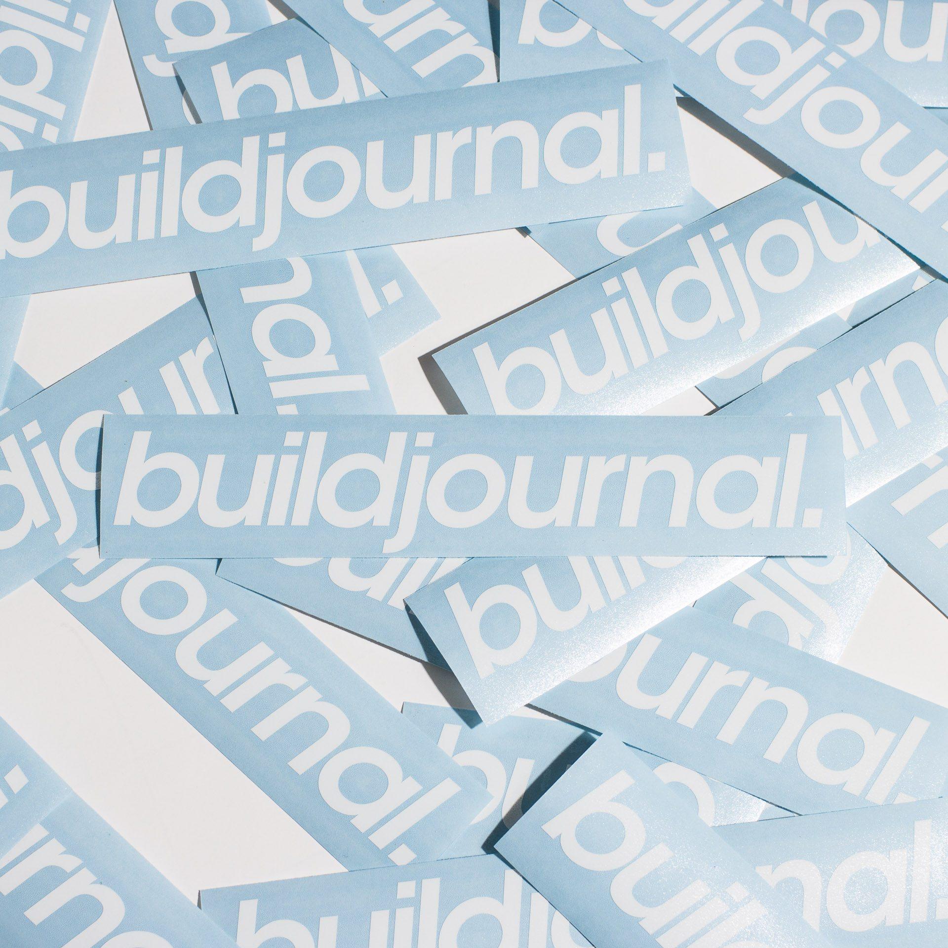 """Buildjournal 8.5"""" Die Cut Sticker White"""